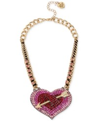Betsey Johnson Gold Tone Pave Heart Arrow Statement Necklace Pink