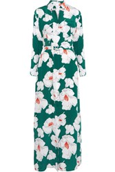 Equipment Major Floral Print Washed Silk Maxi Dress Teal