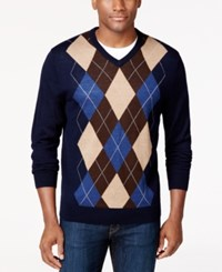 Club Room Merino Argyle V Neck Sweater Only At Macy's Navy Blue