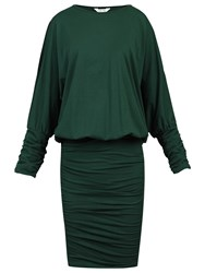 Jolie Moi Batwing Ruched Tunic Dress Dark Green
