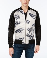 Guess Men's Floral Embroidered Sateen Varsity Jacket Tropic Floral Rye