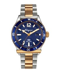 Salvatore Ferragamo 43Mm 1898 Sport Men's Two Tone Bracelet Watch Blue