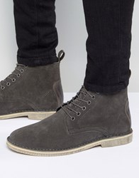 Asos Desert Boots In Grey Suede With Leather Detail Grey