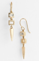 Melinda Maria 'Jamie' Drop Earrings Gold Clear Cz