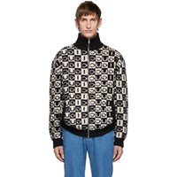 Gucci Black And Off White Wool Checkerboard Zip Up Sweater