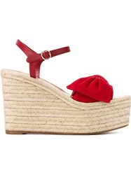 Valentino Garavani Bow Espadrille Wedges Red