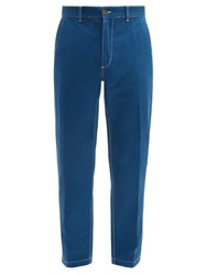 Umit Benan Topstitched Cotton Twill Slim Leg Chino Trousers Blue