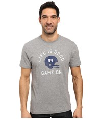 Life Is Good Game On Helmet Crusher Tee Heather Gray Men's T Shirt