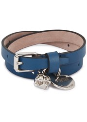 Alexander Mcqueen Blue Skull Charm Leather Wrap Bracelet