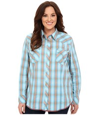 Roper Plus Size 0190 Ombre Dobby Plaid Blue Women's Long Sleeve Button Up