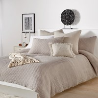 Dkny Geo Jersey Knit Duvet Cover Mushroom Neutral