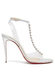 Christian Louboutin Jamais Pyramid Stud Mirrored Leather Sandals Silver
