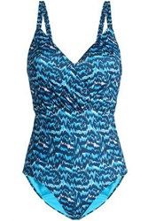 Matthew Williamson Open Back Printed Swimsuit Turquoise