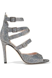 Sarah Jessica Parker Sjp By Fugue Glittered Leather Sandals Silver