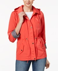 852fd96ef Charter Club Water Resistant Hooded Anorak Jacket Created For Macy s Poppy  Glow