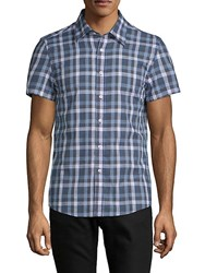Hyden Yoo Tyler Short Sleeve Cotton Button Down Shirt Blue