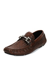 Salvatore Ferragamo Parigi 6 Braided Calfskin Gancini Driver Antiqued Brown Dark Brown