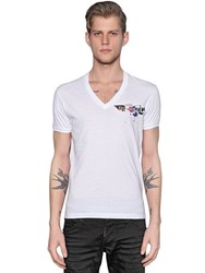 Dsquared Logo Print Cotton Jersey V Neck T Shirt