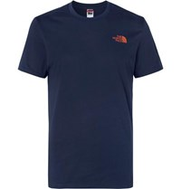 The North Face Logo Print Cotton Jersey T Shirt Navy