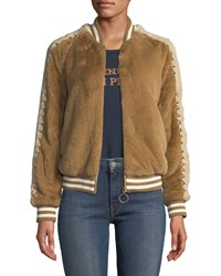 Mother The Letterman Faux Fur Bomber Jacket Light Brown