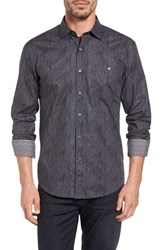 Bugatchi Men's Bugtachi Shaped Fit Heathered Print Sport Shirt