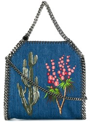 Stella Mccartney Falabella Embroidered Western Tote Blue