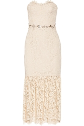 Notte By Marchesa Strapless Embellished Lace Midi Dress