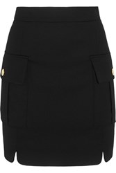 Balmain Pierre Button Embellished Stretch Twill Mini Skirt Black