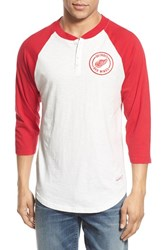 Men's Mitchell And Ness 'Detroit Red Wings Unbeaten' Three Quarter Sleeve Henley