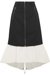 Kenzo Layered Denim And Shell Midi Skirt Black