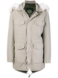 Mr And Mrs Italy Fur Trimmed Parka Grey