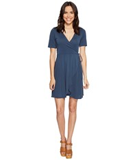 Culture Phit Aerin Short Sleeve Wrap Dress Blue Women's Dress