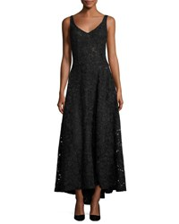 Sleeveless V Neck Corded Lace Gown Black