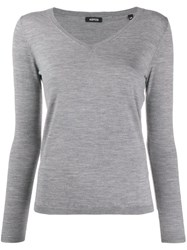 Aspesi Fine Knit V Neck Jumper Grey