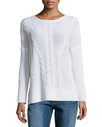Neiman Marcus Cashmere Cable Knit Long Sleeve Tunic Ivory