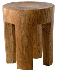Pols Potten Round Stool W 4 Square Legs Brown