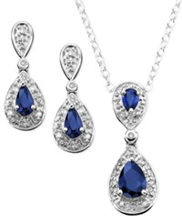 Macy's Sterling Silver Pendant And Earrings Sapphire 1 3 8 Ct. T.W. And Diamond 1 10 Ct. T.W. Set