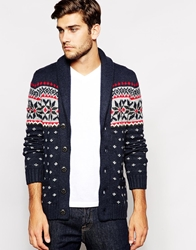 Abercrombie And Fitch Cardigan With Shawl Neck And Fair Isle Navy
