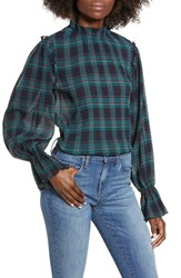 The Fifth Label Zone Tartan Top Navy W Red