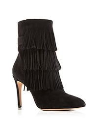 Via Spiga Vesta Fringe High Heel Booties Black