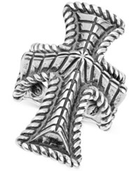 Macy's Decorative Cross Ring In Sterling Silver