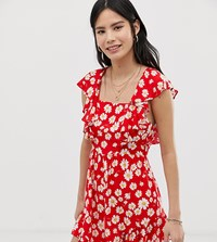 Kiss The Sky Backless Playsuit In Daisy Print Red