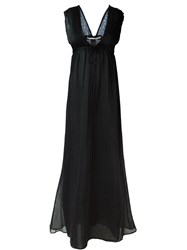 Isabel Benenato Deep V Neck Maxi Dress Black