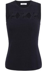 Bailey 44 Woman Twisted Cutout Stretch Knit Top Midnight Blue