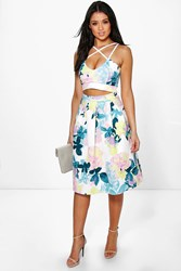 Boohoo Strappy Crop And Full Midi Skirt Co Ord Set Multi