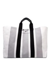 Calvin Klein 205W39nyc Leather Trimmed Striped Canvas Tote Stone