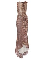 Giles Foxglove Print And Embellished Silk Gown Pink Multi