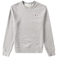 Ami Alexandre Mattiussi Small Tricolour Logo Crew Sweat Grey