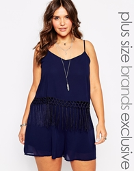 Alice And You Fringe Waist Playsuit Navy
