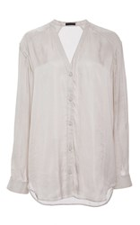Atm Anthony Thomas Melillo Dropped Shoulder Shawl Collar Shirt Silver